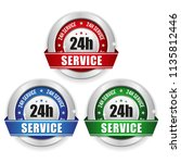 three 24h service badges with... | Shutterstock .eps vector #1135812446