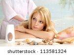 nice blonde relaxing in the... | Shutterstock . vector #113581324