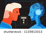 the male human and android look ... | Shutterstock .eps vector #1135813313