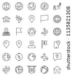 thin line vector icon set  ... | Shutterstock .eps vector #1135821308