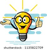 bulb character presentation and ... | Shutterstock .eps vector #1135822709
