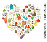 pattern with healthy food.... | Shutterstock .eps vector #1135823333