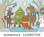 merry christmas card with cute... | Shutterstock .eps vector #1135827239