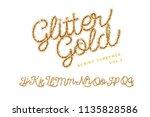handwritten glitter gold... | Shutterstock .eps vector #1135828586