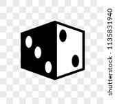 dice vector icon on transparent ... | Shutterstock .eps vector #1135831940