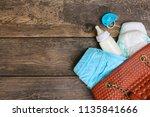 women's handbag with items to... | Shutterstock . vector #1135841666