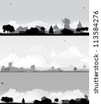 Stock vector grey landscapes with trees and village 113584276