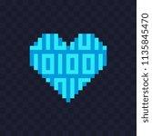 Digital Cyber Heart. Pixel Art...