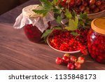 summer red food background with ... | Shutterstock . vector #1135848173