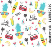 summer pattern with pineapple ... | Shutterstock .eps vector #1135852580