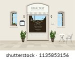 city street background. shop... | Shutterstock .eps vector #1135853156