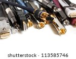 group  of audio video cables on ... | Shutterstock . vector #113585746