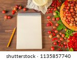 berry summer background with... | Shutterstock . vector #1135857740