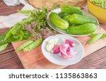 fresh cucumbers  aroma herbs... | Shutterstock . vector #1135863863