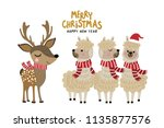 cute alpaca and deer wear... | Shutterstock .eps vector #1135877576