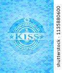 kiss sky blue emblem. mosaic... | Shutterstock .eps vector #1135880600