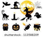Stock vector halloween set black orange figures for decoration 113588209