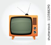 cute retro tv set  orange cover ... | Shutterstock .eps vector #113588290