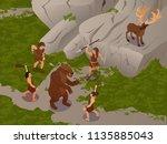 primitive people isometric... | Shutterstock .eps vector #1135885043