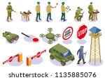 border service isometric icons... | Shutterstock .eps vector #1135885076