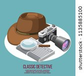 classic detective isometric... | Shutterstock .eps vector #1135885100