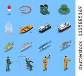 fishing isometric icons set | Shutterstock .eps vector #1135885169