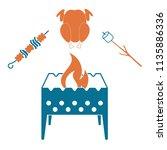 brazier zephyr  kebab and... | Shutterstock .eps vector #1135886336