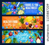 healthy food banners with... | Shutterstock .eps vector #1135887209