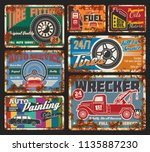 Car service and tire fitting retro cards. Automobile painting, tires and wheels repair, all types of fuel and oils change. Vehicle wrecker order, full service and auto parts available 24 h vector
