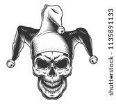 Skull In Jester Hat. Monochrom...