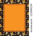 mexican frame with skulls.... | Shutterstock . vector #113589259