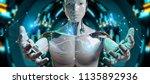 white man robot on blurred... | Shutterstock . vector #1135892936