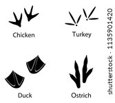 various traces of poultry. duck ... | Shutterstock . vector #1135901420