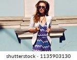 fashion portrait of stunning... | Shutterstock . vector #1135903130