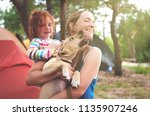 happy family having fun and... | Shutterstock . vector #1135907246