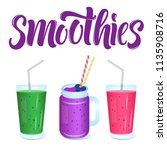 smoothies menu template with... | Shutterstock .eps vector #1135908716