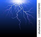 set of lightnings. thunder... | Shutterstock .eps vector #1135908980