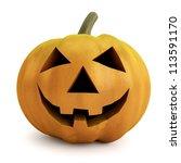3d halloween pumpkin isolated... | Shutterstock . vector #113591170