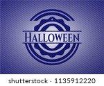 halloween emblem with denim... | Shutterstock .eps vector #1135912220