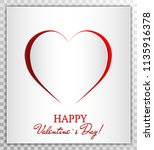 love heart from paper cut style ... | Shutterstock .eps vector #1135916378