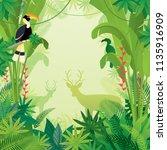 hornbill and deer in tropical... | Shutterstock .eps vector #1135916909
