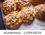 homemade pastry with a topping... | Shutterstock . vector #1135918139