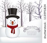 illustration of snowman  on a... | Shutterstock .eps vector #113591824