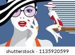fashion woman in style pop art... | Shutterstock .eps vector #1135920599