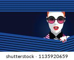 fashion woman in style pop art. ... | Shutterstock .eps vector #1135920659