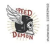 speed demon. skull in winged... | Shutterstock .eps vector #1135929410