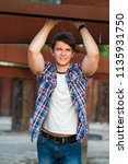 portrait of young handsome man...   Shutterstock . vector #1135931750