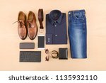 set of clothes and various...   Shutterstock . vector #1135932110