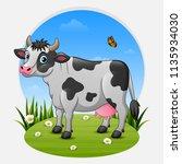 cartoon cow on green meadow | Shutterstock .eps vector #1135934030