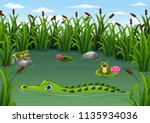 Cartoon Alligator And Frogs In...